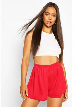 Red Rib Oversized Flippy Short
