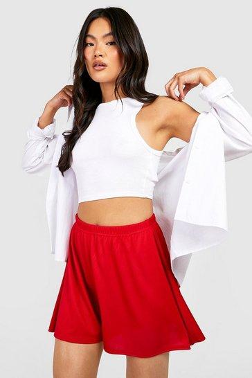 Red Rib Oversized Flippy Short