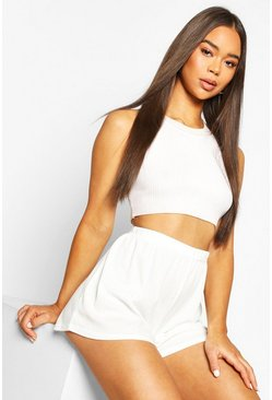 White Rib Oversized Flippy Short