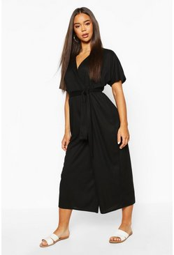 Black Rib Oversized Wrap Culotte Jumpsuit