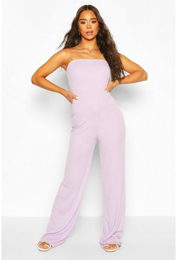 Violet purple Rib Bandeau Wide Leg Jumpsuit