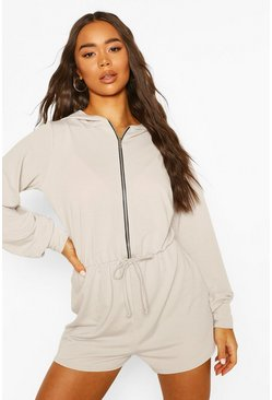 Silver Soft Zip Through Hooded Playsuit