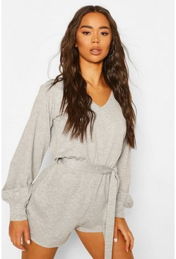 Grey marl grey Soft Tie Waist Oversized Playsuit