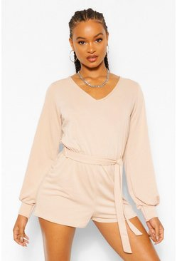 Stone beige Soft Tie Waist Oversized Playsuit