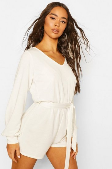 White Soft Tie Waist Oversized Lounge Playsuit