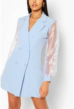 Blue Organza Sleeve Double Breasted Woven Blazer Dress