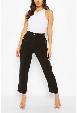 Black Mock Horn Button Pocket Trouser