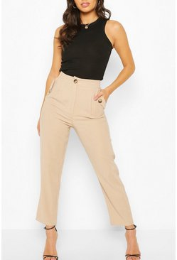 Stone beige Mock Horn Button Pocket Pants