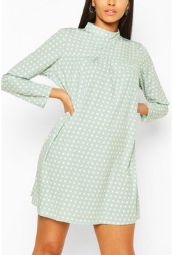 Sage green Polka Dot High Neck Smock Dress