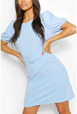 Blue Puff Sleeve Belted Shift Dress