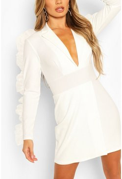 Ivory white Organza Frill Sleeve Crepe Blazer Dress