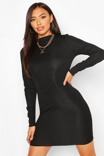 Black Rib Lettuce Neck & Hem Detail Dress