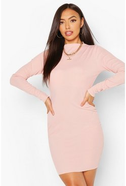 Blush pink Rib Lettuce Neck & Hem Detail Dress