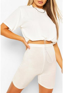Ivory Rib Top With Drawcord Hem
