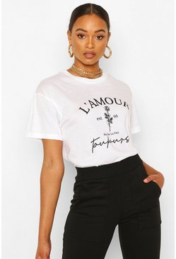 L'Amour Slogan Flower Print T-Shirt, White bianco