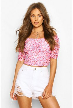 Red Ditsy Floral Mesh Puff Sleeve Top