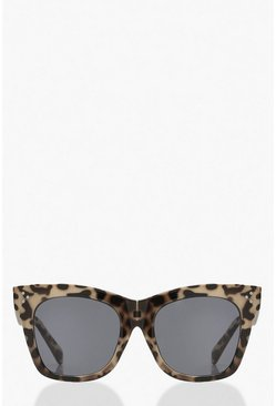 Brown Oversized Leopard Tort Sunglasses