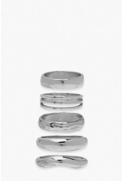 Silver Chunky Stacking Rings 5 Pack