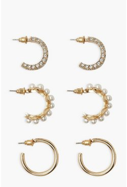 Gold metallic Pearl and Diamante Hoop 3 Pack