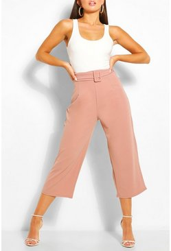 Rose pink Self Belt Culottes