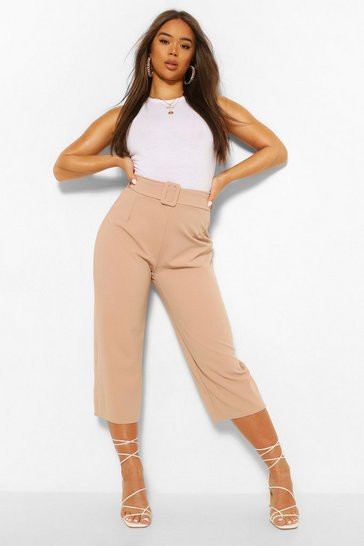 Stone beige Self Belt Culottes