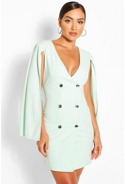 Mint green Double Breasted Cape Blazer Dress