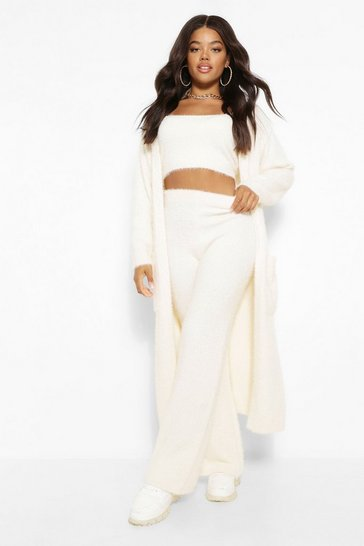 Cream white Premium Soft Fluffy Knit Maxi Cardigan