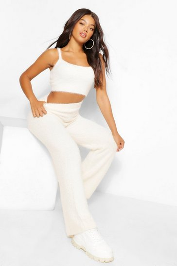 Cream white Premium Fluffy Knit Crop And Trouser Lounge Set