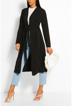 Black Ruched Detail Belted Duster Coat