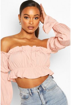 Blush pink Off The Shoulder Long Sleeve Crop Top