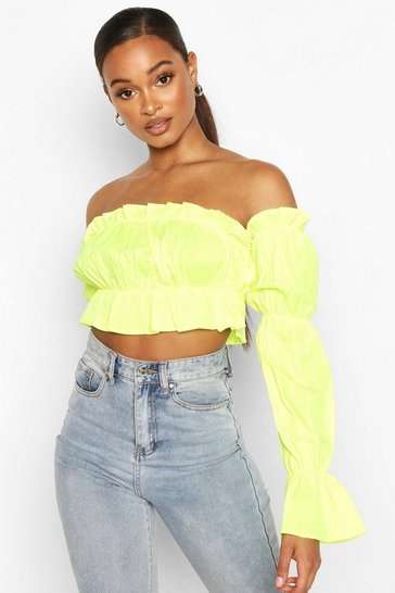 Lime green Green Off The Shoulder Long Sleeve Crop Top