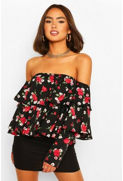 Black Woven floral ruffle off the shoulder tip