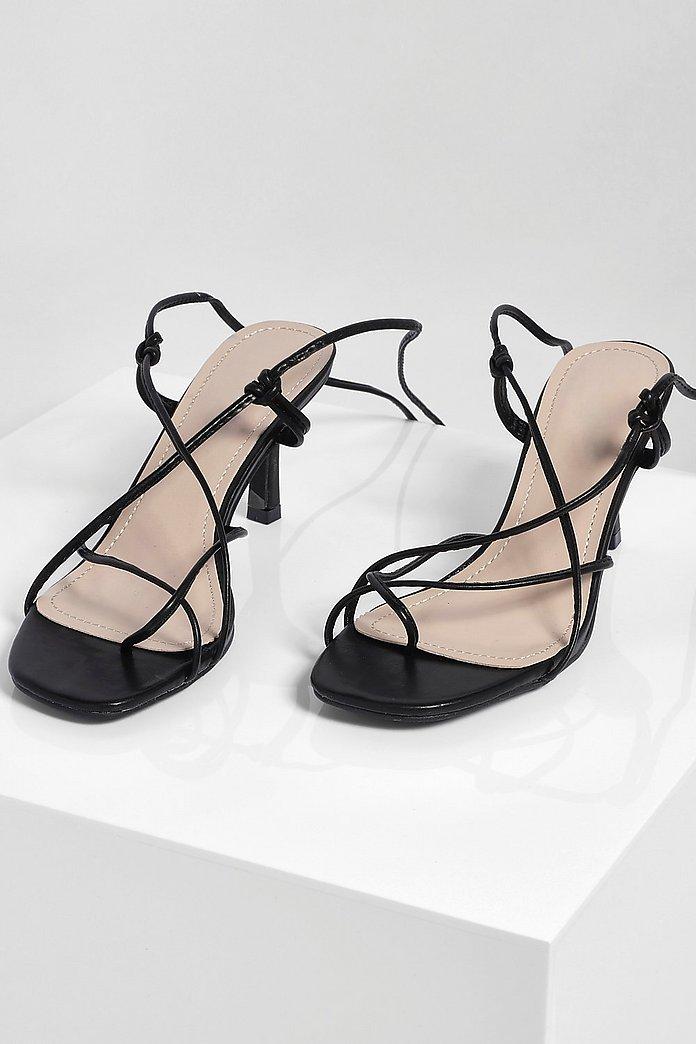 Black Strappy Sandals Low Heel