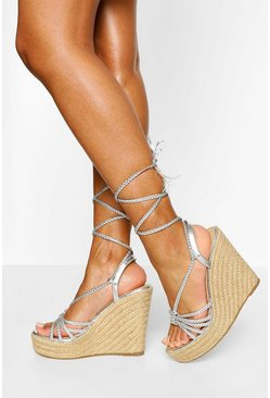 Silver Plait Wrap Strap Espadrille Wedges