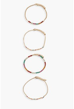 Multi Coloured Gem Bracelet 4 Pack