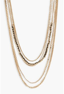 Gold metallic Mixed Chain Stacking Necklaces 5 Pack