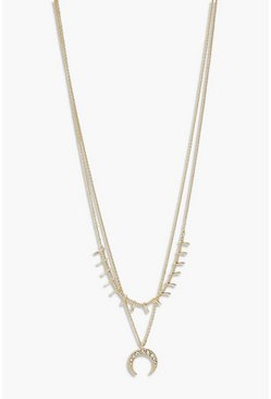 Gold metallic Diamante Horn Layered Necklace