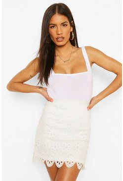 Ivory white Eyelet Scalloped Hem Mini Skirt