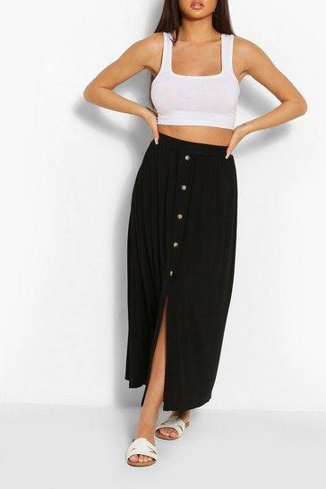 Black Button Front Midaxi Skirt