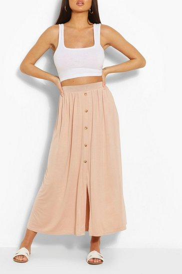 Nude Button Front Midaxi Skirt