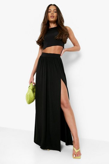 Black Side Split Floor Sweeping Maxi Skirt