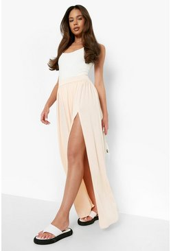 Nude Side Split Floor Sweeping Maxi Skirt
