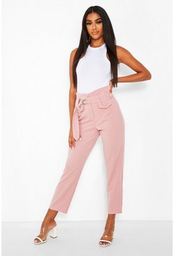 Blush Deep Waist Band High Waist Trouser