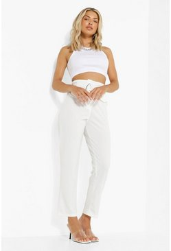 Ivory white Deep Waist Band High Waist Trouser