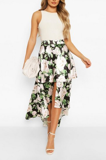 Black Tiered Curved Hem Floral Maxi Skirt