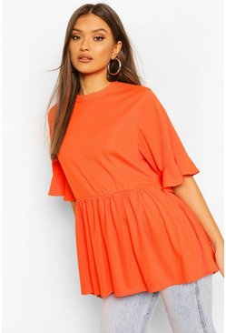 Burnt orange Ribbed Ruffle Short Sleeve Smock Top