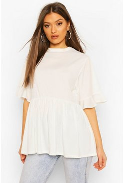 Ivory Ribbed Ruffle Short Sleeve Smock Top