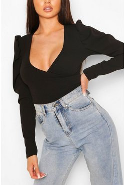 Black Puff Sleeve Wrap Bodysuit