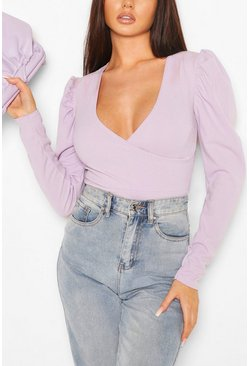 Lilac purple Puff Sleeve Wrap Bodysuit