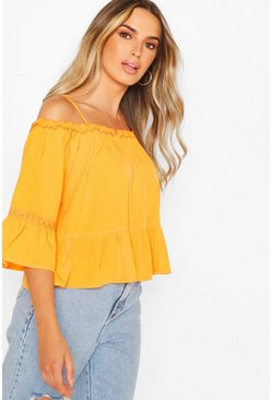 Tangerine Cold Shoulder Ruffle Hem Top